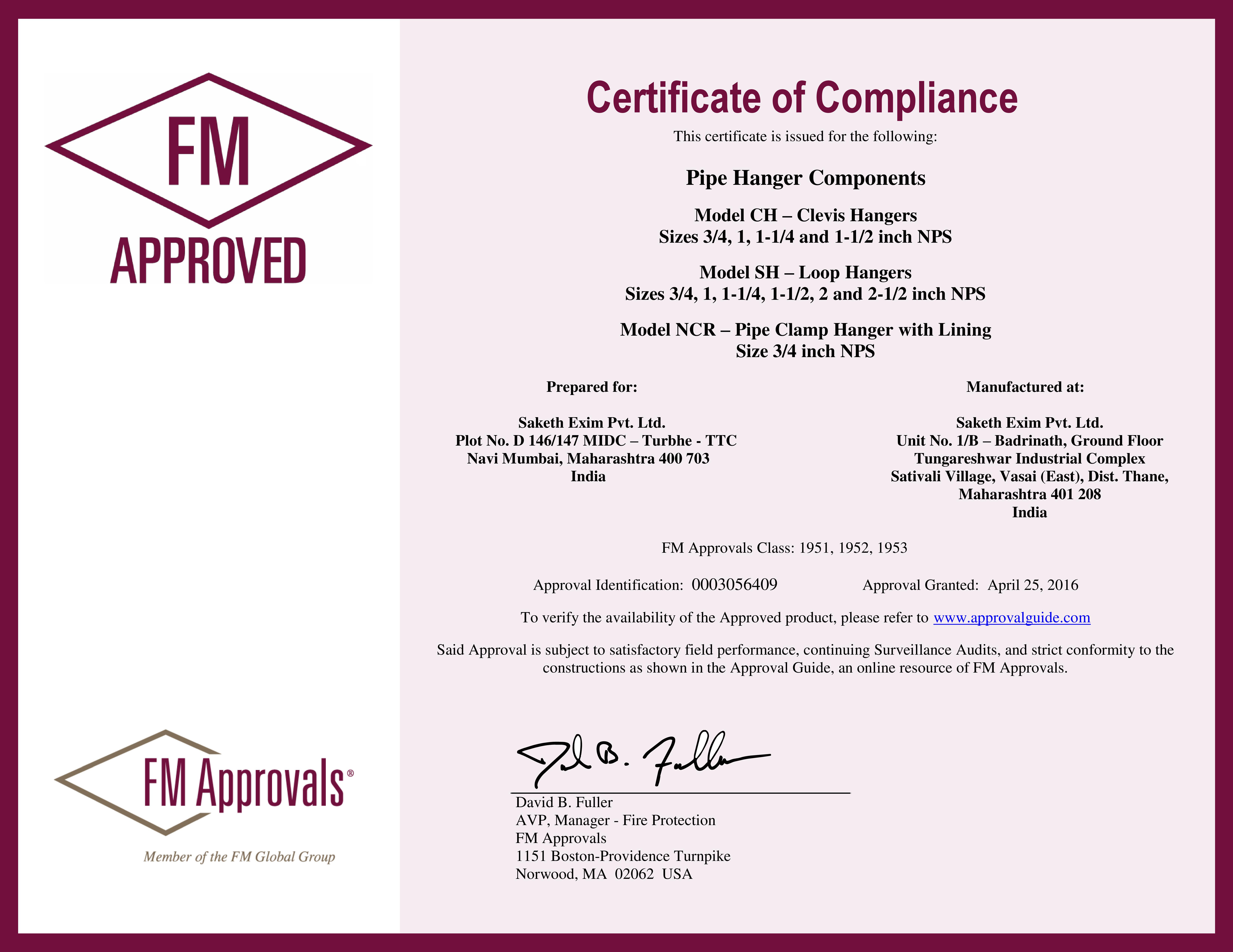 FM Certificate of compliance