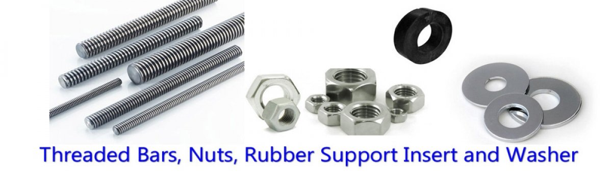 threaded bars nut srubber support